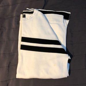 White and black horizontal stripe sweater for men